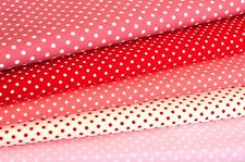 Quilt Half Yard Cotton Fabric Patchwork Pastel Polka Dot Red and Pink Tones