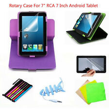 "New Rotary Leather Case+Stylus+Screen Protector For 7"" RCA 7 Inch Android Tablet"