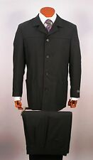 Mens Walking Suit 4 Button ,Soft Shoulder, 100% Wool Pant 2 Pleat Made In Italy