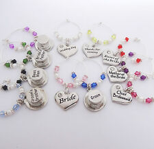 Wedding WINE GLASS Charms,Various roles,favours,table,gifts,bride,groom,party