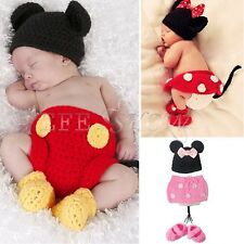 Baby Girl Boy Infant Knit Crochet Minnie Mickey Costume Photo Prop Outfits 0-12M