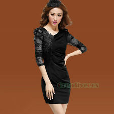 Fashion Women's Sexy Floral Lace Rhinestone Pleated Club Party Mini Skirt Dress