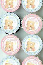 PERSONALISED CHRISTENING DECORATION CUP CAKE EDIBLE TOPPERS PAPER CUPCAKES VEX
