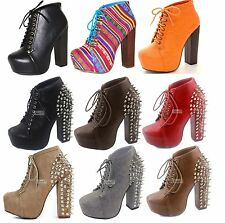 Womens Spikes Round Toe Studs Chunky High Heel Platform Lace Up Ankle Boot