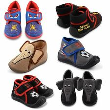 NEW LITTLE BOYS TODDLERS SPIDER CLUB ELEPHANT FOOTBALL BOOTEE SLIPPERS SHOES UK