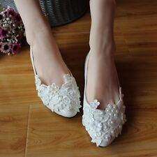 Women's White Flats Wedding Shoes Lace&Beads Pearl Bride Bridesmaid Pointed Toes