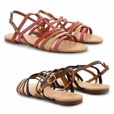 NEW LADIES WOMENS BUCKLE GLADIATOR ROMAN OPEN TOE ANKLE STRAP FLAT SANDALS SIZE