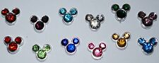 Cute Floating Mickey Mouse Head Birthstone Charms Living Memory Locket Crystal