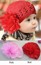 Crochet Flower Baby Hollow Hat Cute Knitted Beanies Girls Boys Hat Newborn Cap