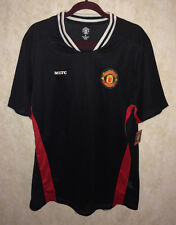 NEW Mens Sz XL MANCHESTER UNITED Official Black Red Breathable V-Neck S/S Shirt