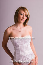 NEW WHITE LACE TRIMMED BASQUE WITH SUSPENDERS & LACE TOPPED STOCKINGS INCL