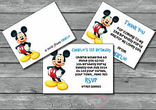 Mickey Mouse Personalised Invite /Thank You Card / Note 12 with envelopes