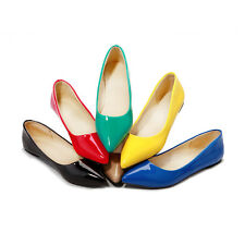 New Fashion Women's Patent Leather Low Heel Pumps Flats  Pointed Shoes SNX158