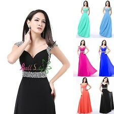 Store chiffon Long Cap Sleeve Formal Prom Party Bridesmaid Evening Dress Gown