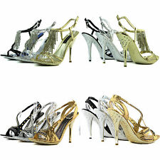 Celeste Metallic Elegant Evening Sandals Etched Heel Strappy Party Dress Shoes