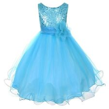 Aqua Flower Girls Sequin Glitter Beaded Dress Christmas Pageant Graduation New