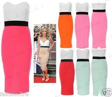Women Ladies Celeb Inspired Boobtube Bandeau Contrast Panel Skirt Bodycon Dress