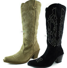 Western Cowboy Slouch Boots Knee High Stacked Heel Detailed Pointed Toe Shoes