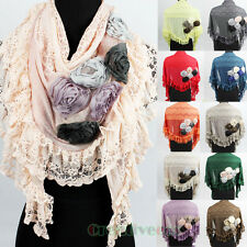 Six 3D Flower Ruffle Lace Trim Stitching Triangle Scarf Shawl Wrap Various Color