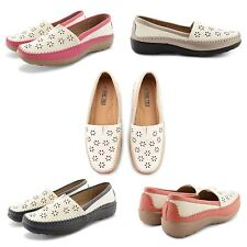 NEW LADIES STYLISH FLAT LOW HEEL SUMMER HOLIDAY LEISURE SHOES PUMPS MOCCASIN UK