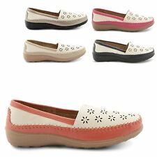 NEW LADIES LOW HEEL COMFORT SUMMER SLIP ON MOCCASIN LOAFER SHOES UK SIZE 3-8