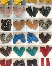 NEW Woman fashion Rivets Faux Leather Fingers bow ONE SIZE Multicolor gloves S,M