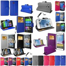 Colour PU Leather Wallet Case Cover For Nokia/HTC/Samsung/Huawei + SP & Stylus