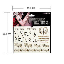 Temporary Tattoo Decals Waterproof Music Note Score Guitar Letter Stickers