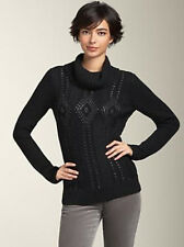 TALBOTS Black Cowl Neck Sweater Sequin Diamond Chunky Cable Knit Cotton Wool NWT
