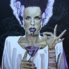 I Put A Spell On You by Mike Bell Bride of Frankenstein Martini Canvas Giclee