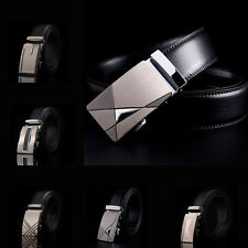 Fashion Gentleman Men's Black Automatic Buckle Genuine Leather Waist Strap Belts
