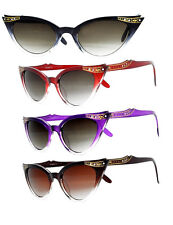 Cat Eye Sunglasses Purple Red Brown Black PinUp 50s Rockabilly Clear Winged 40s