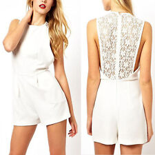 New Womens Sexy Perspective Sleeveless Back Lace Patchwork Playsuit Romper 8083