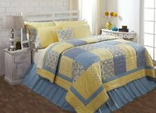 Caledon Yellow, Blue, and White Quilt Set - Cal King/King/Queen/Twin Sizes