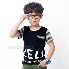 Summer Fashion Kids Toddlers Boys Striped Letters Round Neck Cotton Tops T-Shirt