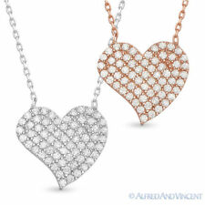 Heart Love Charm CZ Crystal Pave Fashion Pendant .925 Sterling Silver Necklace