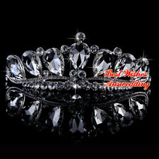 "Princess Teardrop Wedding Bridal Rhinestone Crystal Hair Tiara 12-15cm ""no comb"""