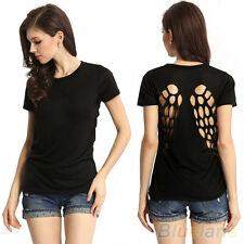 Punk Stylish Ladies Black Angle Wing Hollow Cotton Blouse Tops Cool T Shirt BHCU