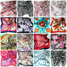 25+ DESIGNS SILK SATIN FEEL LADIES SMALL SQUARE SCARF ANIMAL PINK SPOTS FLOWERS