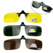 Yellow Polarized Day Night Vision Driving Clip-on Flip-up Len Glasses Sunglasses