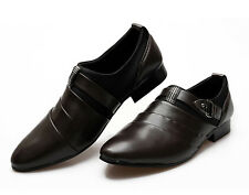 korean men's British style buckle pointed toe casual shoes business shoes c1166