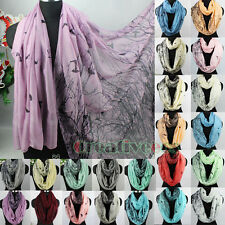 Fashion Women's Trees Birds Viscose Infinity Loop Cowl Eternity Casual Scarf New