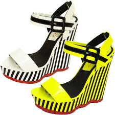 New Ladies High Wedge Strappy Sandals Womens Platform Stripe Shoes Size 3-8