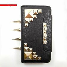 HTC One Silver Knuckle Spiked Studded Rhinestones Black Wallet Phone Case Trokm