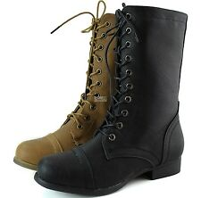 Women Lace Up Round Toe Bootie Western Cowboy Ankle Combat Military Boot