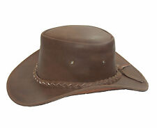 Australian Style Leather Outback Bush Hat Mens Ladies  Brown