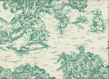French Country Toile Pool Blue-Green Small Tootsie Roll Decorative Pillow