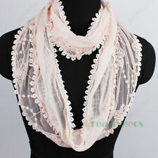 Fashion Floral Dot Lace Tassel Mesh Infinity Loop Eternity Endless Casual Scarf