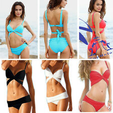 Sexy Bandage Bikini Swimwear Shoulder strap Push-up Bathing suit Womens tankinis