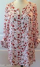 Ann Taylor~ Women Deep Red Floral Silky  Blouse $60 Size XS,L ~NWT
